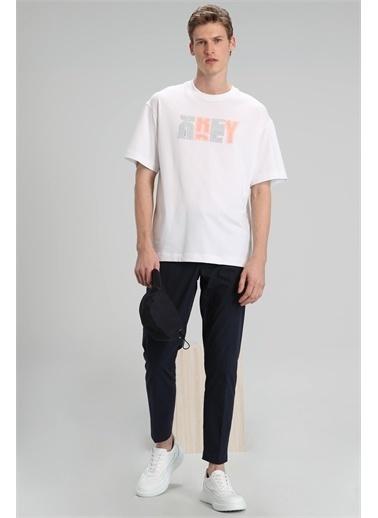 Lufian Bonn Modern Grafik T- Shirt  Beyaz
